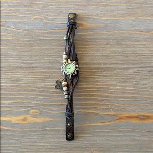 Butterfly charm bracelet watch